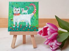 Original, acrylic painting on mini canvas of a Cat and Kitten by Maureen Mace. Ideal Mothers Day gift. Mini painting comes with own easel.