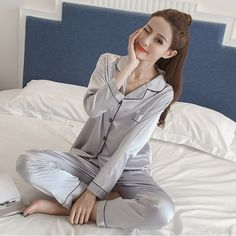 83d8574dfe Silk Satin Pyjamas Set women Plus Size M-5XL Long Sleeve Sleepwear Female  Sleep Two