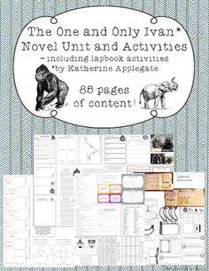 This novel study unit for The One and Only Ivan includes: 32 pages of chapter breakdowns 13 activity lapbook Unique vocabulary sheets Pre-reading and assessment task cards Figurative Language Game Plot Graphic Organizers Theme Defense Activities Cause and Effect Activity Character Note Sheets Informational Passages and Quizzes Making Connections Page Somebody, Wanted, But So, Then Summary Page Additional Extension Ideas!