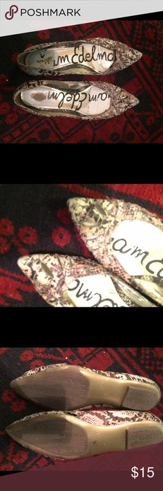 SAM EDELMAN FLATS SAM EDELMAN pre loved pointy toed flats.  Neutral snake print, sole good condition Sam Edelman Shoes Flats & Loafers