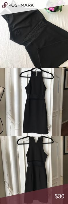 Little black dress Gorgeous formfitting dress with sheer fabric at the high waist.  Measures 33 1/2 in length. Dresses