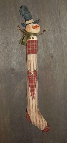 SOLD!  Primitive Stocking with Snowman - A Sew Many Prims original - pattern model 2 #NaivePrimitive #SusanFrace