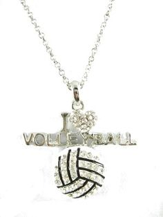 I love volleyball crystal necklace