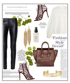 """Leather jeans."" by zeljkaa ❤ liked on Polyvore featuring Capwell + Co, Dot & Bo, Folio, self-portrait, Gianvito Rossi, Yves Saint Laurent, CÉLINE, Stella & Dot, Whiteley and Olivine"