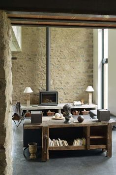 Renovation old house - Before After DIY Stone Interior, French Interior, Interior Design, Old Fireplace, Fireplaces, Freestanding Fireplace, Barn Renovation, Stone Houses, Industrial House