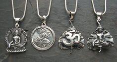 Nepalese Silver Pendants  Buddha, Green Tara and Om
