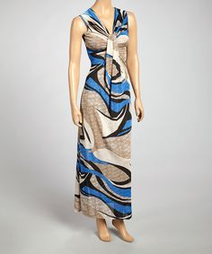 This Gray & Blue V-Neck Maxi Dress - Women by Reborn Collection is perfect! #zulilyfinds