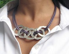 Hammered Metal Circle Link Leather Necklace - bold necklace - 2 strand metallic purple greek leather - magnetic clasp - woven silver links