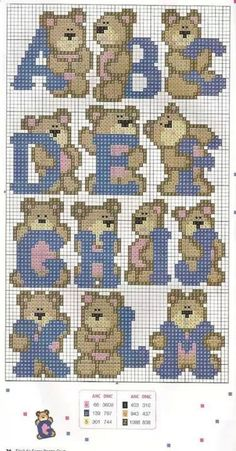 Teddy Alphabet Pattern A-M