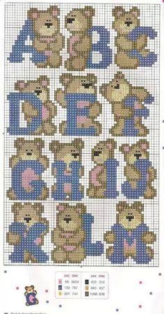 Teddy Alphabet Pattern A-M