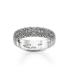 This silver band ring from Thomas Sabo features an intricate pattern adorned with cubic zirconia pave for a sophisticated sparkle. Ring Ring, Thomas Sabo Bague, Sterling Silver Jewelry, Unique Jewelry, Cultural Patterns, Filigree, Wedding Band, Wedding Rings, Qvc Uk