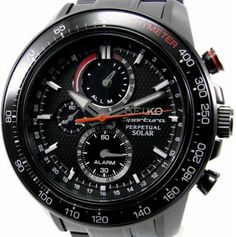 Seiko Men& Solar Perpetual Chronograph Watch - In Stock, Free Next Day Delivery, Our Price: Buy Online Now Seiko Sportura, Seiko Solar, Seiko Men, Seiko Watches, Casio Watch, Stainless Steel Case, Omega Watch, Chronograph, Watches For Men