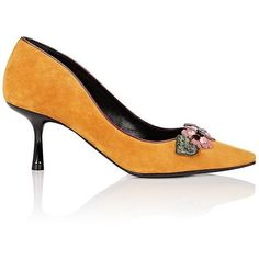 Fabrizio Viti Women's Be My Valentine Suede Pumps ($885) ❤ liked on Polyvore featuring shoes, pumps, orange, slip on shoes, slip on pumps, pointy-toe pumps, suede pointy toe pumps and suede shoes