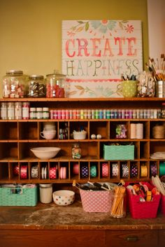 really REALLY need to have a pile o'money to hit this craft retreat some day ...but until then - this sign! So cheerful and colorful.