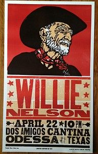 Willie Nelson Hatch Show Print poster Limited Edition of 50 Odessa Texas Rock Posters, Music Posters, Concert Posters, Gig Poster, Print Poster, Odessa Texas, West Texas, Willie Nelson, Route 66