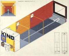 Design for a cinema by Herbert Bayer. Image courtesy the Museum of Modern Art. Photo 10 of 16 in Final Weekend: Bauhaus at MoMA Herbert Bayer, Bauhaus Colors, Design Bauhaus, Bauhaus Art, Josef Albers, Land Art, Bayer Design, Harvard Art Museum, 3d Modelle