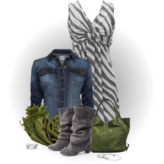 Striped Dress & Boots/Love, love this