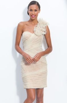 JS Collections Ruched Mesh One Shoulder Dress - informal vow renewl