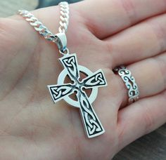 This sterling silver pendant is just Amazing!! this Celtic Cross necklace is not just beautiful in design but also in meanings, this pendant is a symbol which emphasizes the endlessness of love of God shown through the sacrifice of Jesus on the Cross. The Celtic knot at the bottom of the cross represents friendship, affection, that cannot be broken. The trinity design on the arm of the Cross symbolize Gods love around the Holy Trinity. Also It represent the three promises of a relationship…