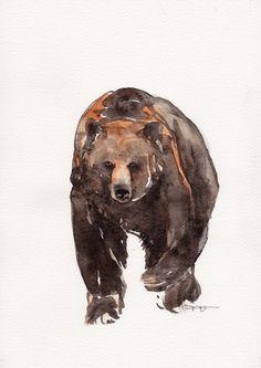 Bear Animal Art Original watercolor painting art by FrancinaMaria