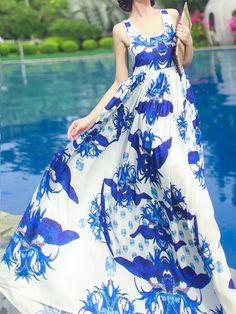 Blue Floral Print Cut Out Back Sleeveless Maxi Dress | Choies