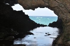 The Animal Flower Cave in Barbados. This is the inside of the cave, looking out. Waves crash into it and create swimming pools inside. Its literally the coolest place I've ever been. Places To Travel, Places To See, Wonderful Places, Beautiful Places, Life Pictures, Barbados, Swimming Pools, Caribbean, To Go