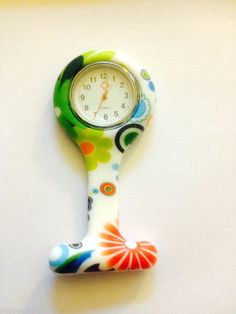 NURSES FOB Watch  Multi-Colour Design  Silicone Pin Brooch Tunic Fob