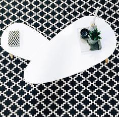 Monochrome styling with Kmart Black and White Rug styled by scandi cakes