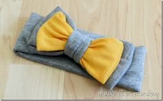 Soft and Comfy Bow Headbands Yellow and Gray. So cute. Easy to understand tutorial.
