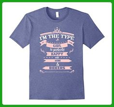 Mens Type Of Girl Happy With Wine & Boxers T-Shirt Medium Heather Blue - Food and drink shirts (*Amazon Partner-Link)