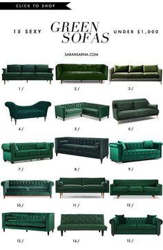 26 ideas living room green sofa for 2019 Living Room Green, Home Living Room, Living Room Decor, Living Room Sofa Design, Living Room Designs, Green Velvet Sofa, Green Couches, Green Couch Decor, Home Interior Design