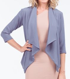 Take your look to the next level with this lapel sleeve jacket. This Jacket is a combination of quality and style. It features an open front, 3 quarter sleeves, and is a breathable fit. Quarter Sleeve, You Look, Duster Coat, Fit, Sleeves, Jackets, Style, Fashion, Down Jackets