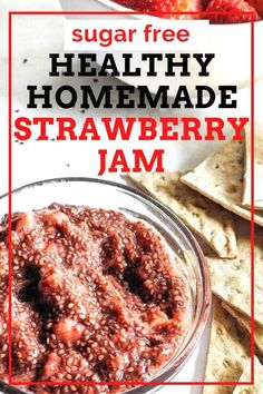 A 10-minute Strawberry Chia Seed Jam that's so easy and delicious, you're never going to buy any from the store again. Sweetened with just the berries, this spread is Keto-friendly and sugar-free too! This freezer-friendly chia seed jam is high in fiber, healthy fats and omega 3s, and makes for a great spread for a PB Healthy Strawberry Jam Recipe, Homemade Strawberry Jam, Jam Recipes, Delicious Recipes, Free Recipes, Healthy Recipes, Homemade French Onion Soup, Healthy Fats, Healthy Cooking