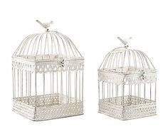 Set de 2 jaulas decorativas en metal Pájaro - blanco