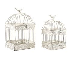 Set de 2 jaulas decorativas en metal Pájaro - blanco