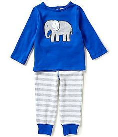 Starting Out Baby Boys 12-24 Months Elephant-Appliqued Short-Sleeve Tee & Pants Set
