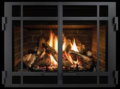 Strong horizontal lines make the Prairie Doors front a stand out. Model DXV35 with Prairie Doors front in Black. Fireplace Fronts, Fireplace Inserts, Gas Fireplace, Hearth, Strong, Doors, Model, Black