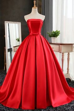 Elegant Strapless Sweep Train Ball Gown Red Pleats Prom Dress with Bow