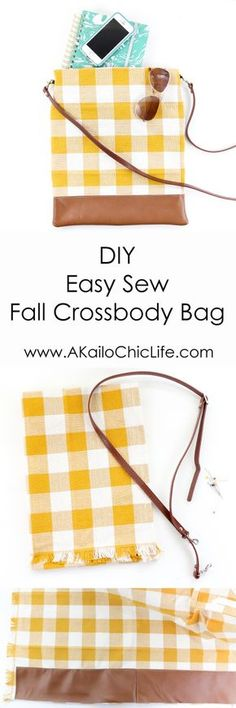 Easy Sewing project for beginners - How to Sew a tote bag - Crossbody bag - Craft - DIY - Gift idea - Fall fashion - DIY Sewing tutorial - how to sew a bag