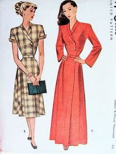 1940s Glam Housecoat Robe Pattern McCall 7038 Lovely Double Breasted fitted Bodice Full Sweeping  Robe Two Lengths and Sleeve Versions Bust ...