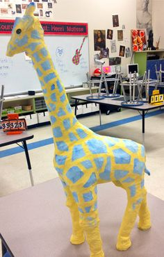 """Make the paper mache giraffe calf life size with a base paint, but have each guest """"sign"""" it with a personal touch... Maybe each spot is a place for a different guest to paint? Seal it once it's done to allow charlie to keep it in her room as a memento."""