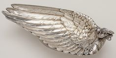 Datail view of Whiting Antique Sterling Silver Figural Bird Dish, New York City, c. 1870's