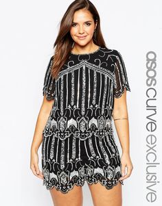 24fc233f282d ASOS CURVE Beaded Top with Scallop Hem at asos.com. Fashionable Plus Size  ...