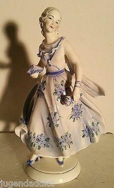 Katzhutte Hertwig Art Deco Figurine Ballroom Book in Hands Goldscheider Quality | eBay