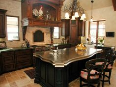 With marble tops and elaborate edging on every post and plateau, your center island can also make the perfect breakfast island. Kitchen Dining, Dining Room, Perfect Breakfast, Marble Top, Kitchens, Island, Mansions, Home Decor, Decoration Home