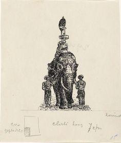 Leo Gestel | Ontwerp boekillustratie voor Alexander Cohen's Van Anarchist tot Monarchist: Indiase Olifant, Leo Gestel, 1891 - 1941 |
