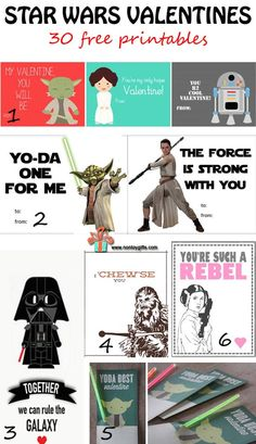 Star Wars Valentines! Awesome collection of Star Wars inspired free printable Valentine's Day cards!