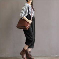 Chic Loose Fitting Overall Trousers