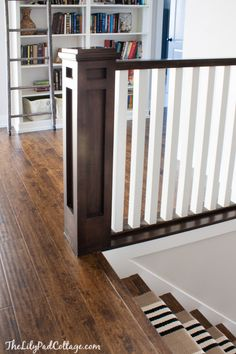 Painting stairs ideas staircase makeover banisters newel posts 19 Ideas for 2019 Stair Newel Post, Stair Posts, Newel Posts, Stair Treads, Laminate Stairs, Laminate Flooring, Wood Floor Stairs, Flooring Ideas, Hardwood Floors