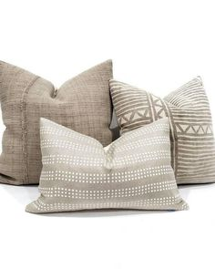 """13""""×20"""" pillow cover made of white hand block print on 100% flax/oatmeal linen. Linen Pillows, Couch Pillows, Living Room Decor Pillows, Cushions, Pillow Cover Design, Pillow Covers, Handmade Pillows, Decorative Pillows, Beige Couch"""